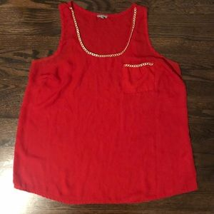 Red Chiffon Tank with Gold Detailing